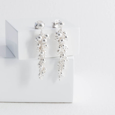 Taylor Sterling Silver Tassel Long Drop Earrings