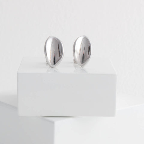 Sterling Silver Large Petal Stud Earrings