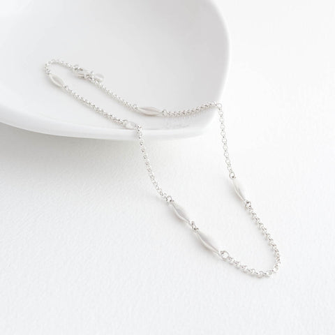 Halle Sterling Silver Short Choker Station Oval Necklace