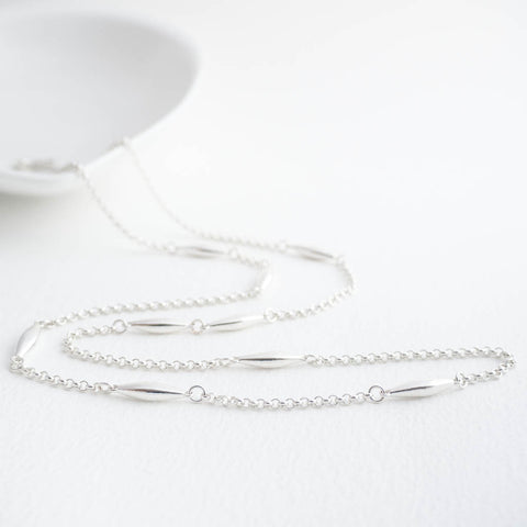 Halle Sterling Silver Oval Long Station Necklace