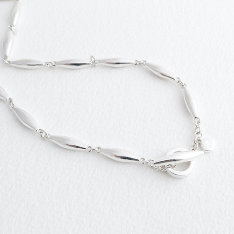 Halle Sterling Silver Choker Ovals Necklace