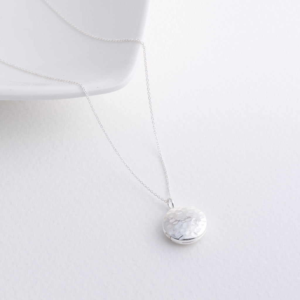 Little Dolce Small Hammered Circle Locket Sterling Silver