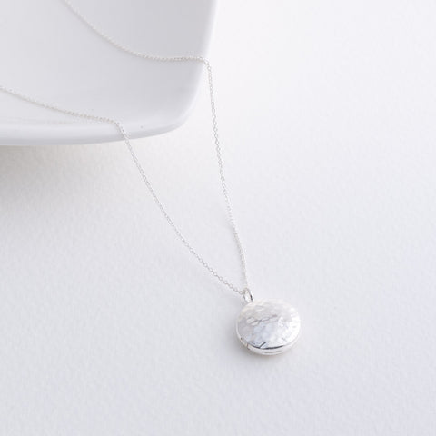 Little Dolce Hammered Sterling Silver Round Locket