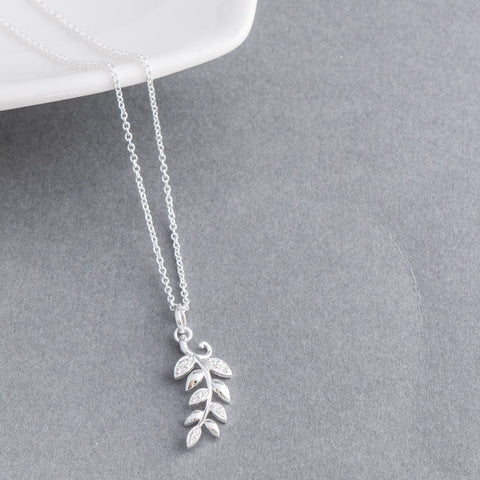 Jessica Sterling Silver Delicate Leaf Pendant Necklace