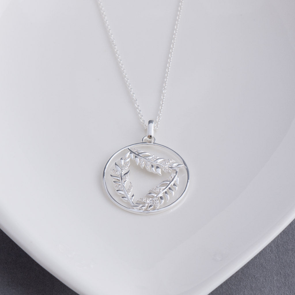 Georgia Sterling Silver Fern Leaf Pendant Necklace