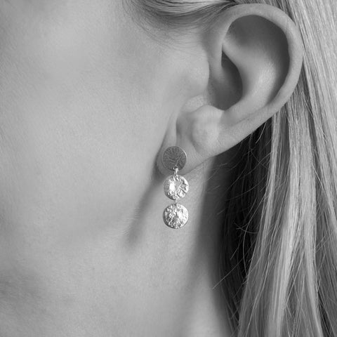 Hammered Tripe Silver Disc Drop Earrings