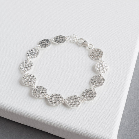 Orla Solid Sterling Silver Hexagon Bracelet