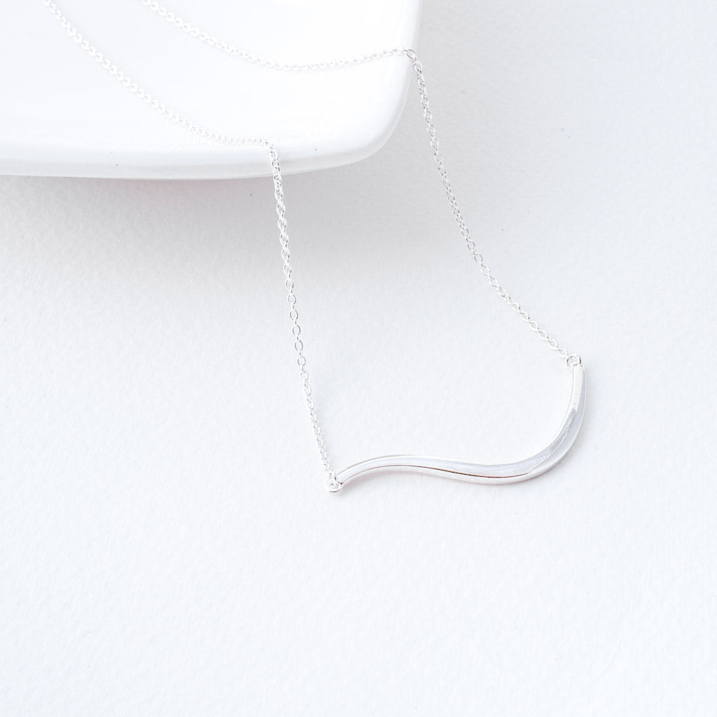 Marissa Sterling Silver Wave Bar Necklace