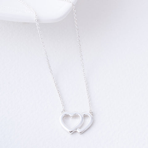 Carla Double Outline Sterling Silver Heart Necklace