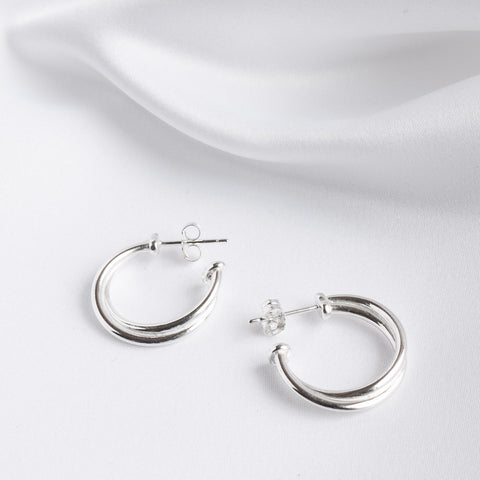 Rebecca Sterling Silver Crossover Medium Hoop Earrings