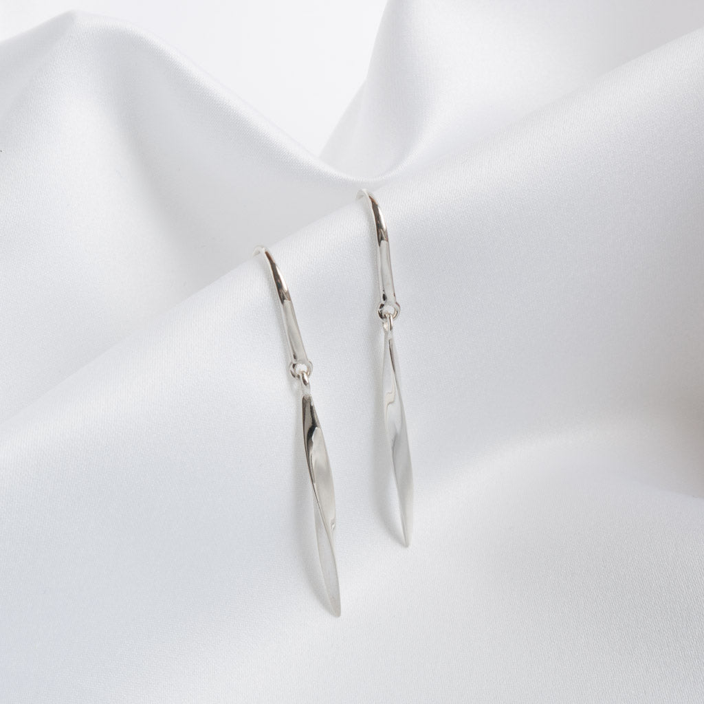 Robyn Silver Twisted Bar Drop Earrings