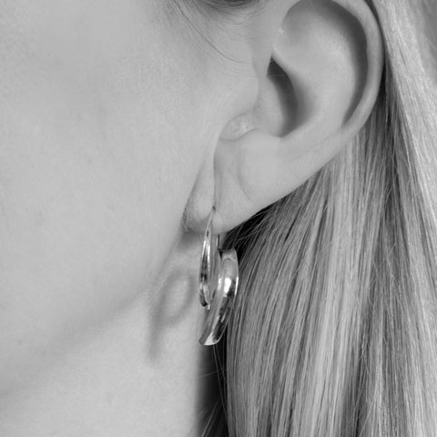 Keely Silver Spiral Hoops Earrings