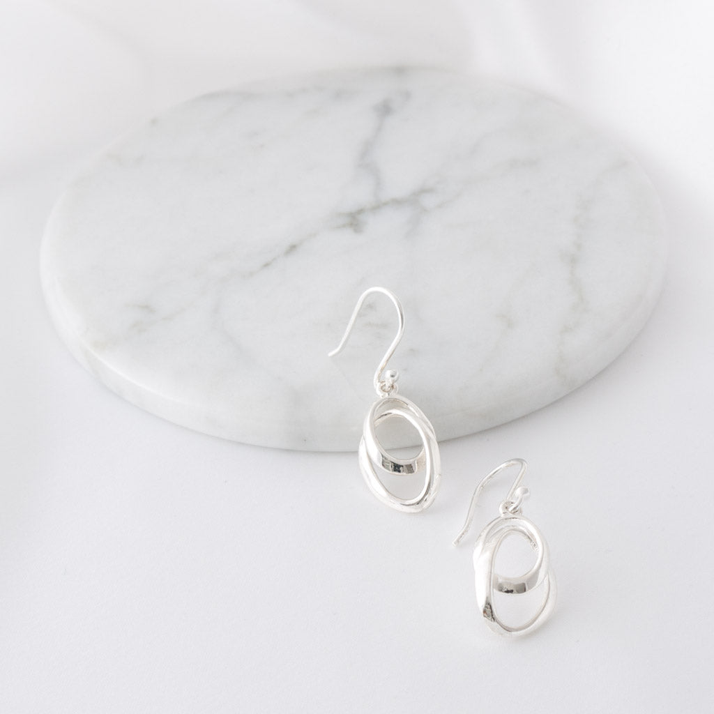 Diana Sterling Silver Swirl Drop Earrings