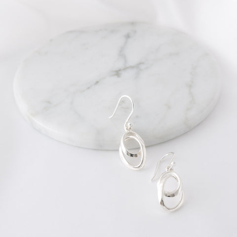 Diana Silver Swirl Drop Earrings