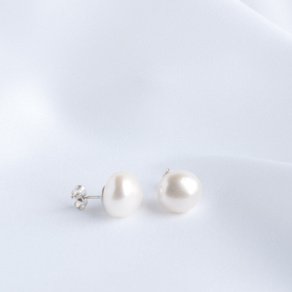 Florence Large Baroque Freshwater Pearl Stud Earrings Silver