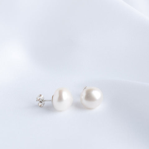 Florence Large Baroque Pearl Stud Earrings