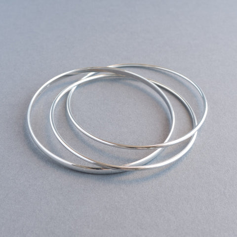 Classic Silver Mixed Russian Bangle