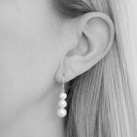 Lana Graduated Round FreshwaterPearl Drop Earrings Silver