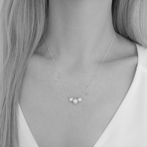 Amal Trio Freshwater Round Pearl Necklace
