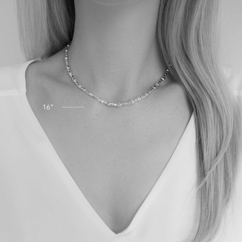 Endless Silver Cubes Choker Necklace
