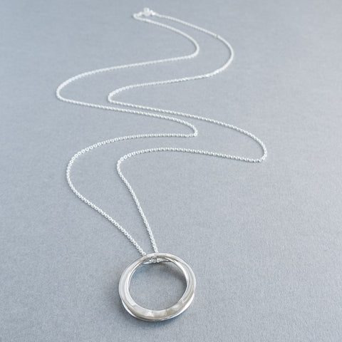 Faye Silver Circle Long Necklace