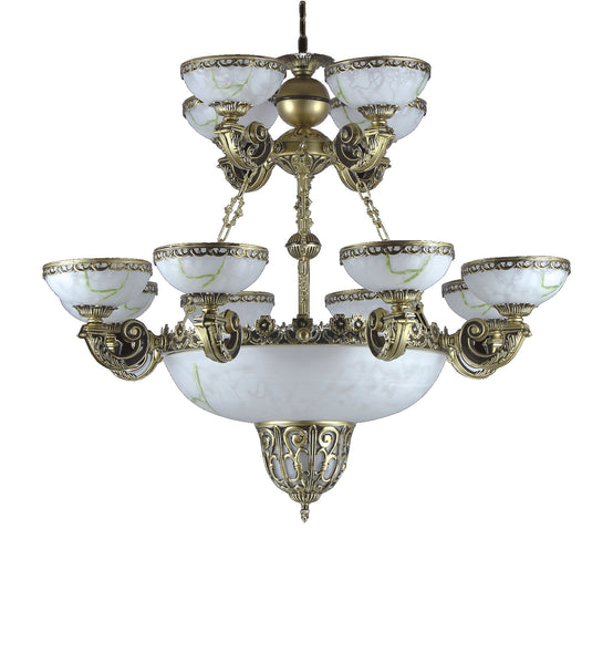 "<strong>Alabaster Chandelier</strong><br> #073 8+4+3 Light<br><strong><font color=""red"">Reduced 50%</font></strong><br>Sale Price"