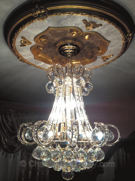 chandelier medallion installed