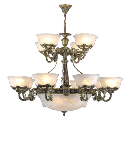"<strong>Alabaster Chandelier</Strong><br>#239 8+4+3 Light<br><strong><font color=""red"">Reduced 50%</font></strong><br>Sale Price"