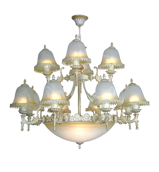 "<strong>Alabaster Chandelier</strong><br> #250 8+4+3 Light<br><strong><font color=""red"">Reduced 50%</font></strong><br>Sale Price"