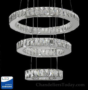 Dallas Samsung LED Chandelier Triple Ring Halo #DAL-R-21+16+11