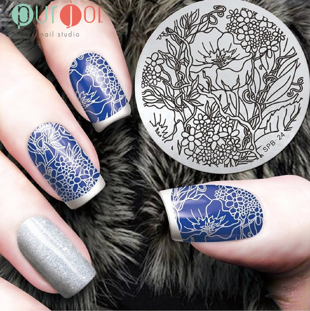 Round Stamping Plates - SPB Collection - Purjoi Nail Studio