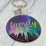 Family foil design keepsake keyring