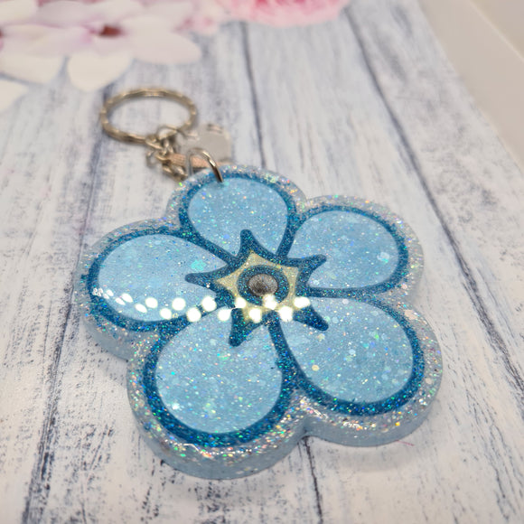 Forget me not keyring with option to personalise keepsake
