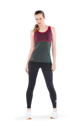 Bella Tech Tank Geo Burgundy/Forest Green
