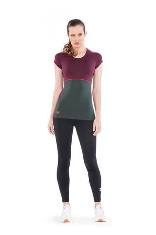 Bella Tech Tee Geo Burgundy/Forest Green