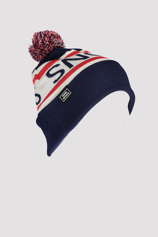 Pom-Pom Beanie Navy/Bright Red