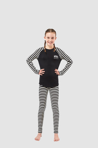 Girls Groms Legging Thick Stripe 8-13 Years