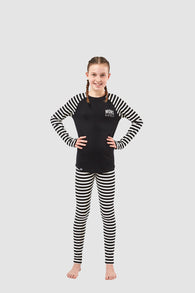 Girls Groms LS Black/Thick Stripe 8-13 Years