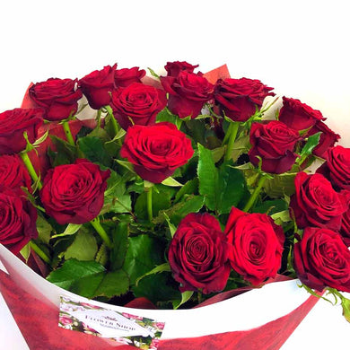 24 red roses bouquet flower delivery by florist in Wellington New Zealand valentines day