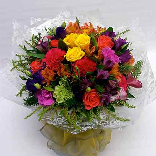 Bright Mix Flowers Bouquet - Wellington florists - flower delivery Wellington - Flower Shop Florist Wellington