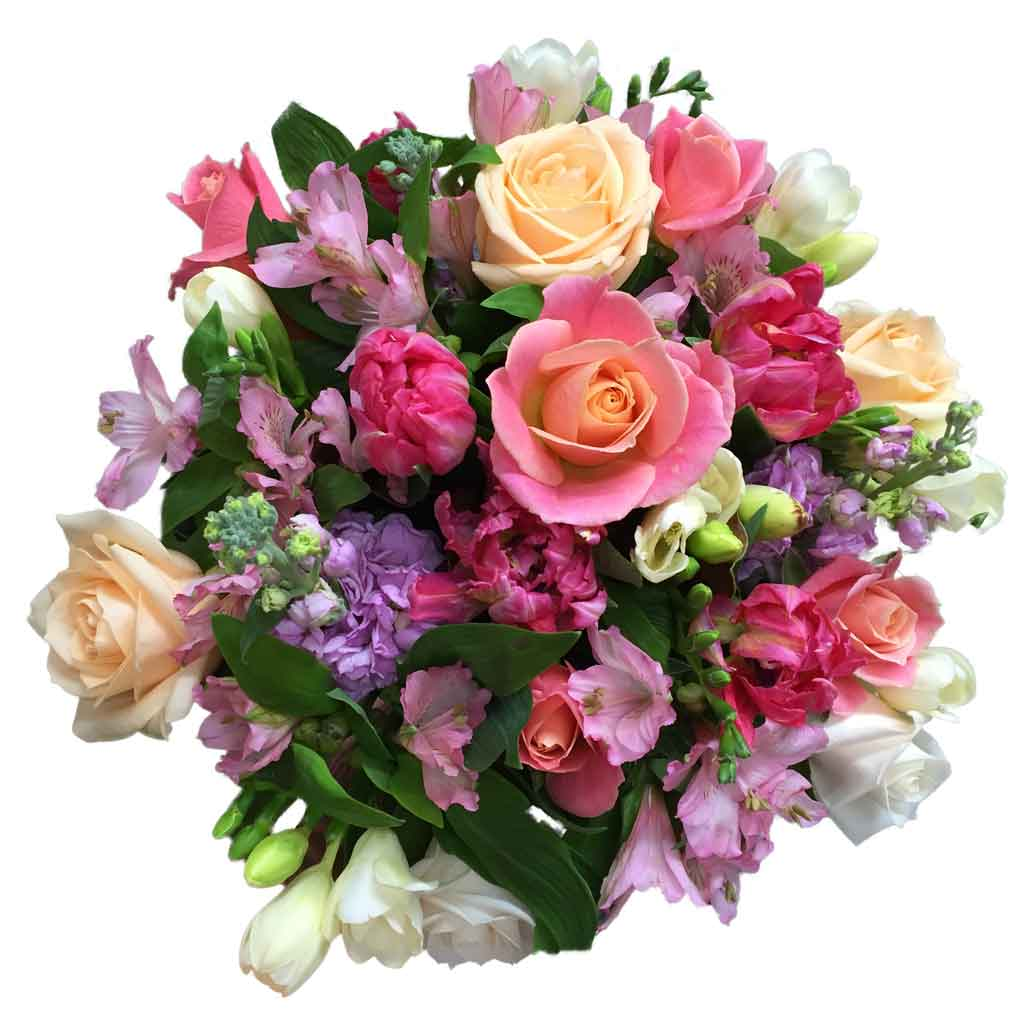 bright pink peach purple mix flowers bouquet - flower delivery wellington - florist in wellington