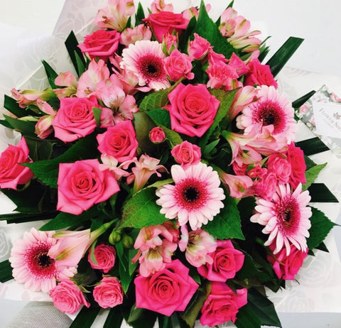 Bright Pink mix flowers bouquet to Wellington NZ - Flowers Wellington NZ - Flower Shop Florist Wellington NZ