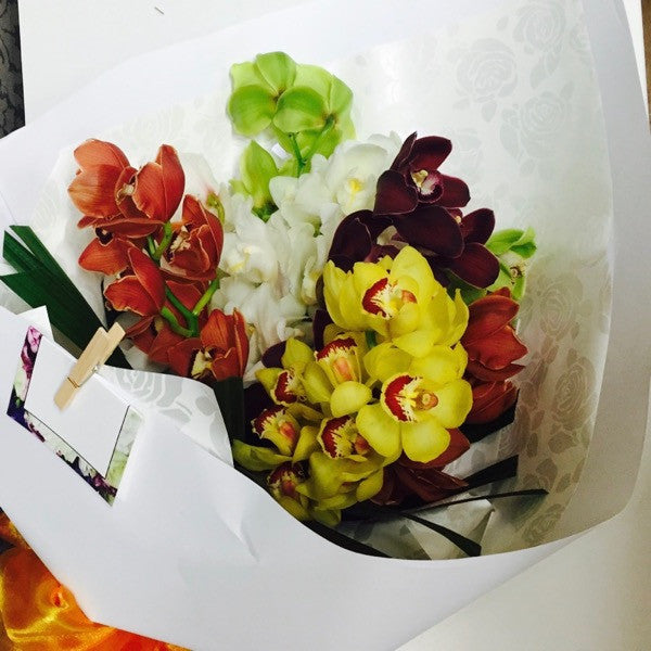 Cymbidium Orchid bouquet flower delivery Wellington florists NZ
