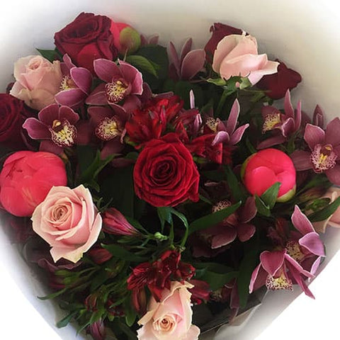 Orchid, Peonies, Roses bouquet in Red, Pink and Coral colour tones - Flowers Wellington CBD City New Zealand - Miramar, Kilbirnie, Lyall Bay, Island Bay florists online NZ