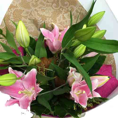 Pink Lily Bouquet - Lily Flower Bouquet Wellington NZ - Flower Shop Florist Wellington NZ