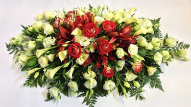 Coffin Casket Spray in Red & White Flowers - funeral flowers delivery by florists in Wellington NZ