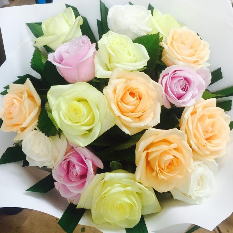 Roses soft mix pastel colours - Roses Flowers Bouquet Wellington NZ - Flower Shop Florist Wellington NZ