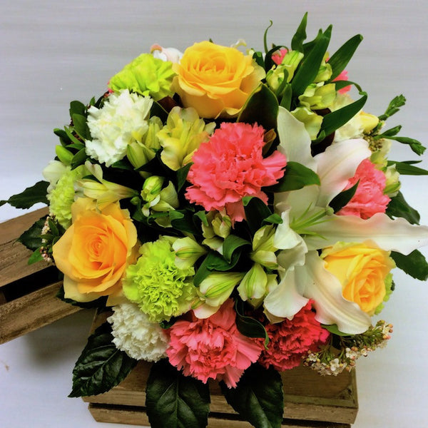 Posy Bowl Peach, Green, Pinks, Whites - Posy Flowers in Glass Bowl Vase - Flower Shop Florist Wellington NZ