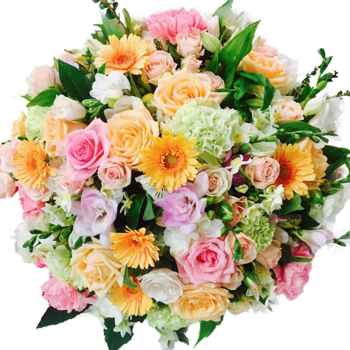 Soft Peach pinks green floral bouquet of flowers - flower delivery - florist in Wellington NZ