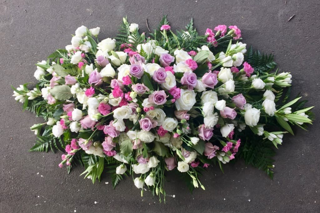 Soft colours for coffin - Casket or Coffin Flowers Wellington NZ, birds eye view from top - Flower Shop Florist Wellington NZ